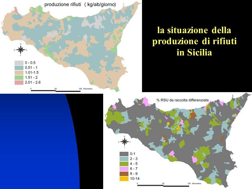 la situazione della produzione di rifiuti in Sicilia