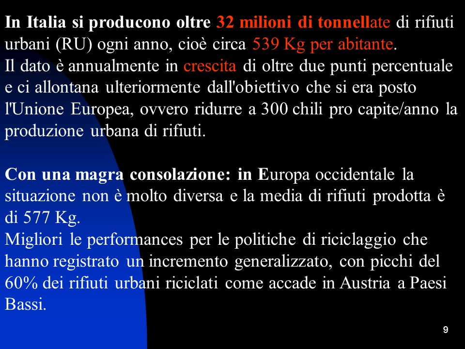 In Italia si producono oltre 32 milioni di tonnellate di rifiuti urbani (RU) ogni anno, cioè circa 539 Kg per abitante.