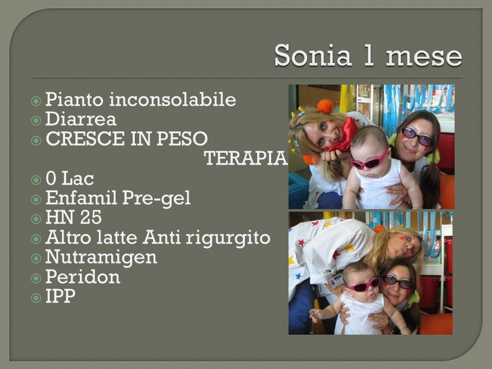 Sonia 1 mese Pianto inconsolabile Diarrea CRESCE IN PESO TERAPIA 0 Lac