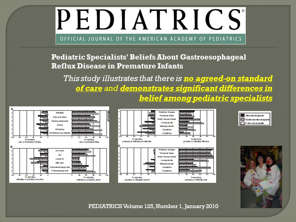 Pediatric Specialists Beliefs About Gastroesophageal Reflux Disease in Premature Infants