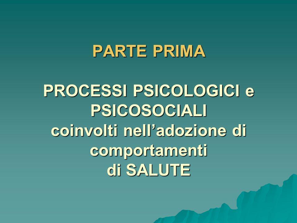 PARTE PRIMA PROCESSI PSICOLOGICI e PSICOSOCIALI coinvolti nell'adozione di comportamenti di SALUTE