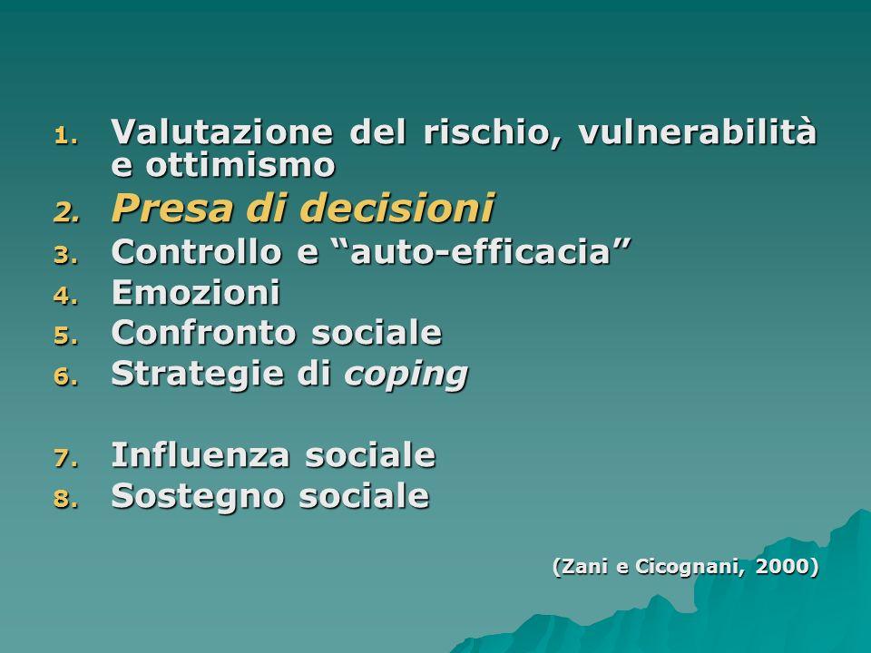 Presa di decisioni Valutazione del rischio, vulnerabilità e ottimismo