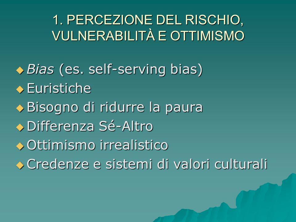 1. PERCEZIONE DEL RISCHIO, VULNERABILITÀ E OTTIMISMO