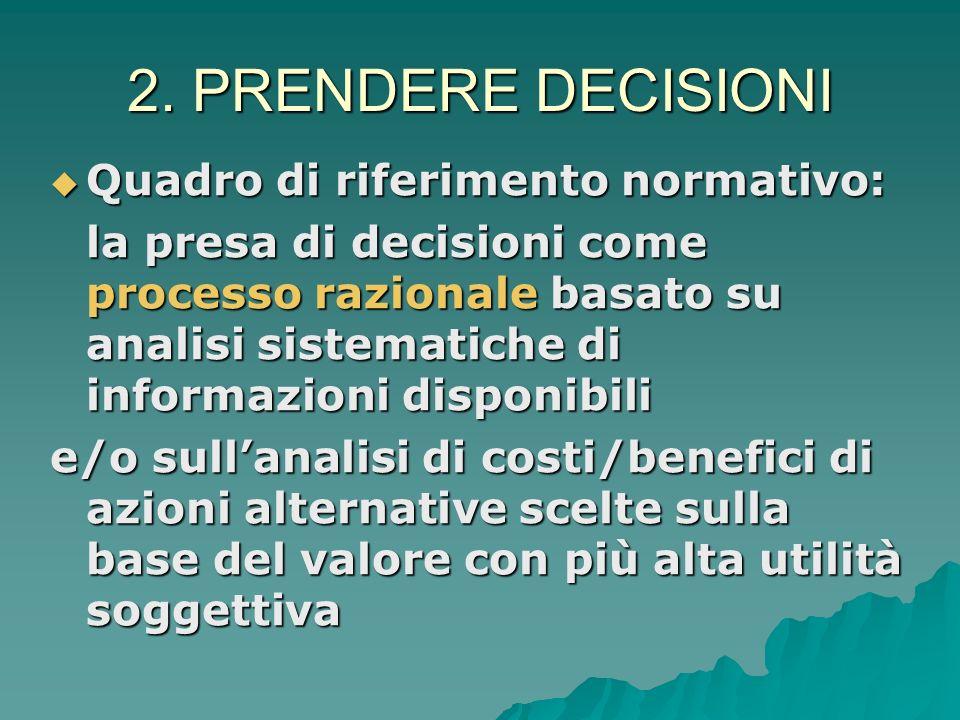2. PRENDERE DECISIONI Quadro di riferimento normativo: