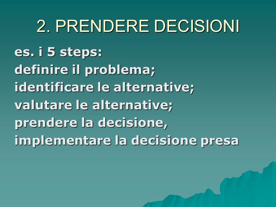 2. PRENDERE DECISIONI es. i 5 steps: definire il problema;