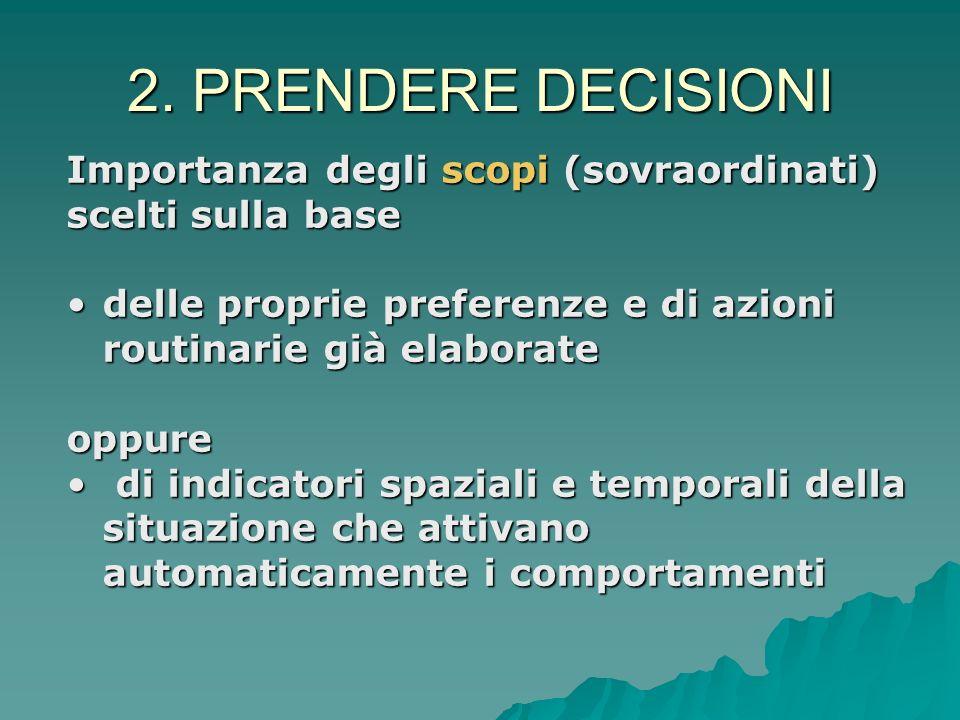 2. PRENDERE DECISIONI Importanza degli scopi (sovraordinati)