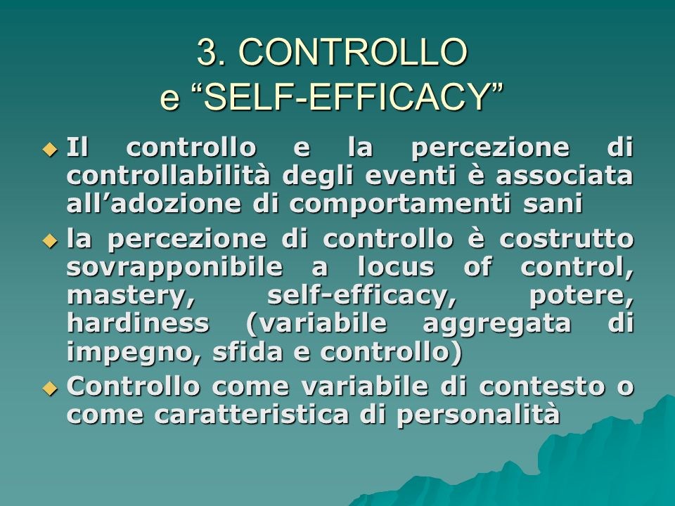 3. CONTROLLO e SELF-EFFICACY