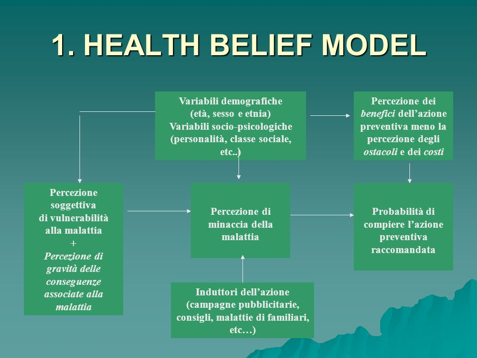 1. HEALTH BELIEF MODEL Variabili demografiche (età, sesso e etnia)