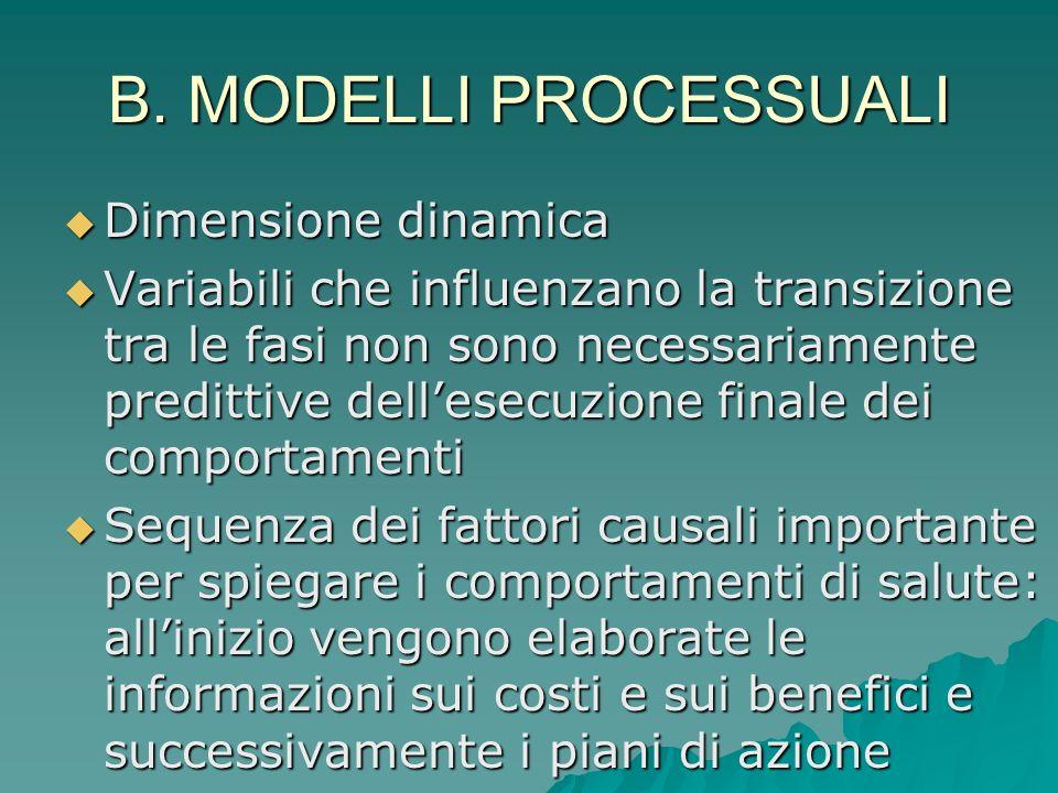 B. MODELLI PROCESSUALI Dimensione dinamica