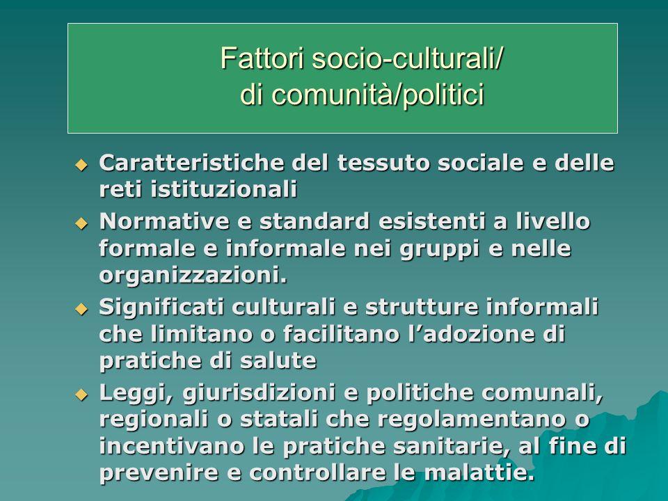 Fattori socio-culturali/ di comunità/politici