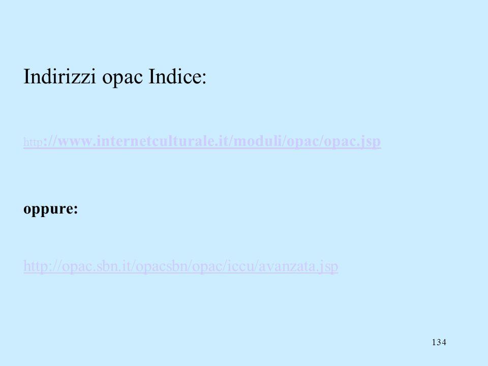 Indirizzi opac Indice: