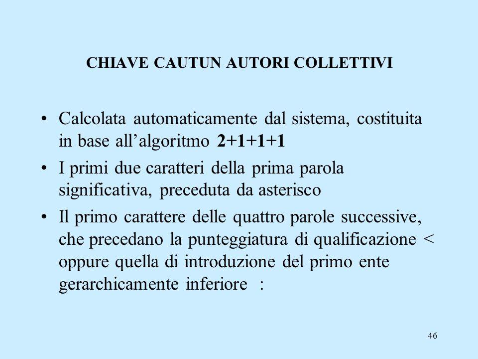CHIAVE CAUTUN AUTORI COLLETTIVI
