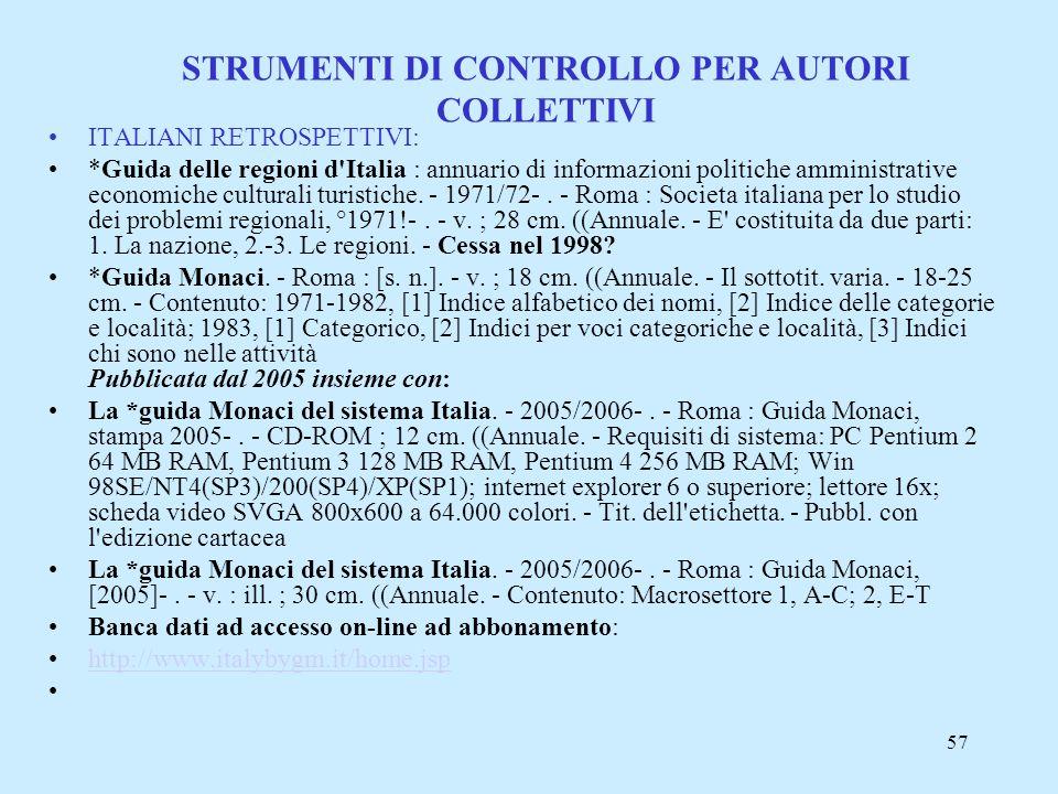 STRUMENTI DI CONTROLLO PER AUTORI COLLETTIVI
