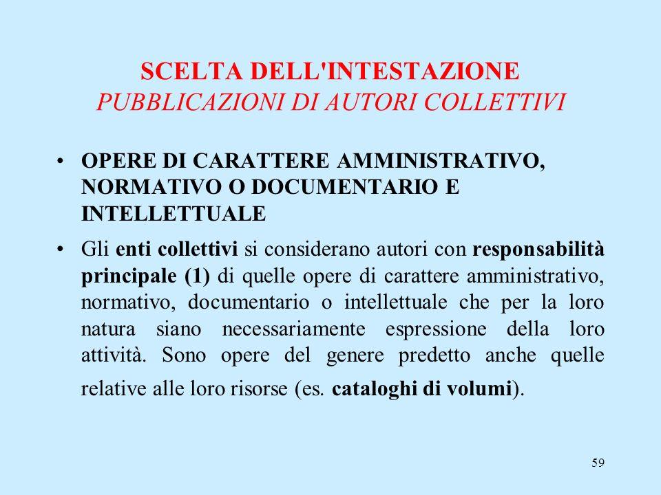SCELTA DELL INTESTAZIONE PUBBLICAZIONI DI AUTORI COLLETTIVI