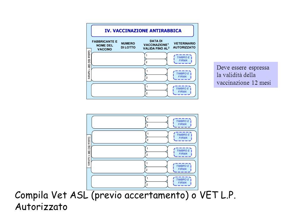 Compila Vet ASL (previo accertamento) o VET L.P. Autorizzato