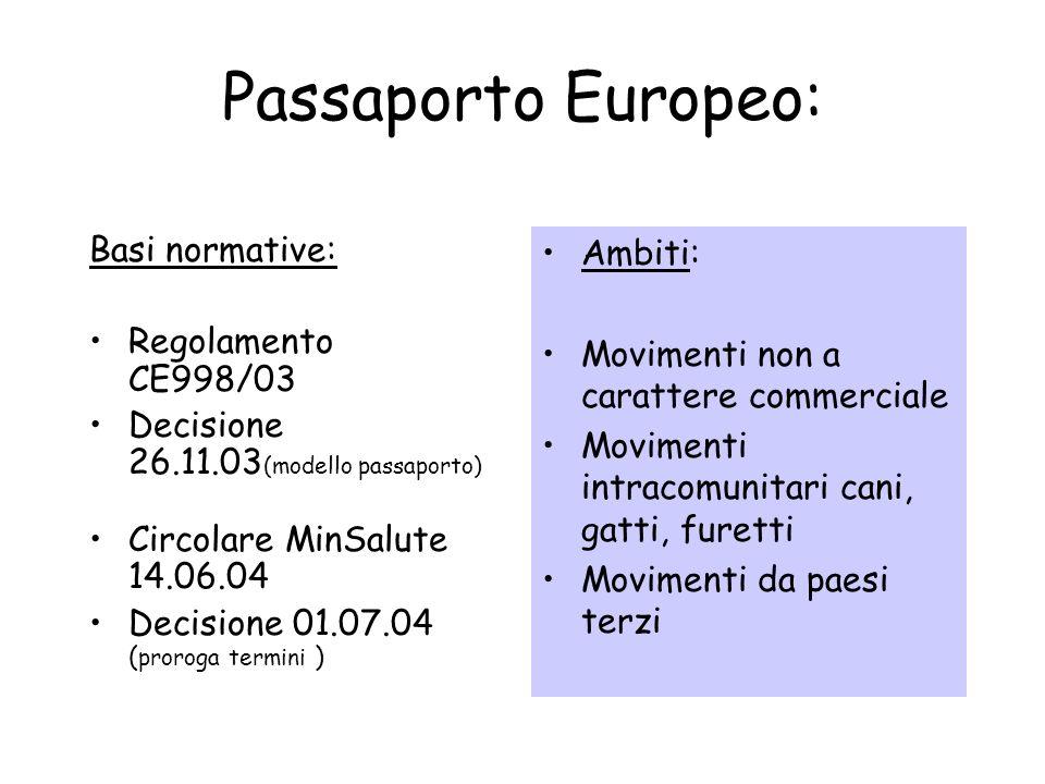 Passaporto Europeo: Basi normative: Regolamento CE998/03