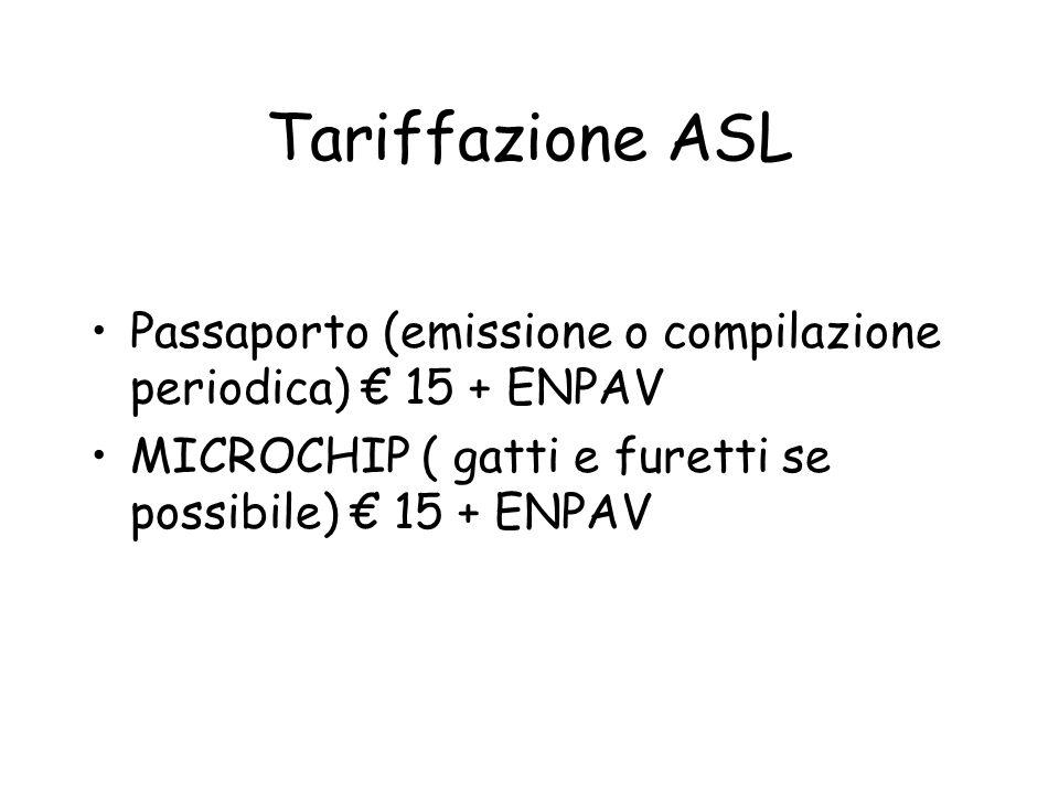 Tariffazione ASL Passaporto (emissione o compilazione periodica) € 15 + ENPAV.