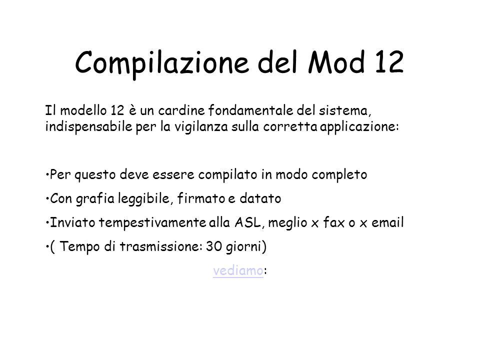 Compilazione del Mod 12 Il modello 12 è un cardine fondamentale del sistema, indispensabile per la vigilanza sulla corretta applicazione: