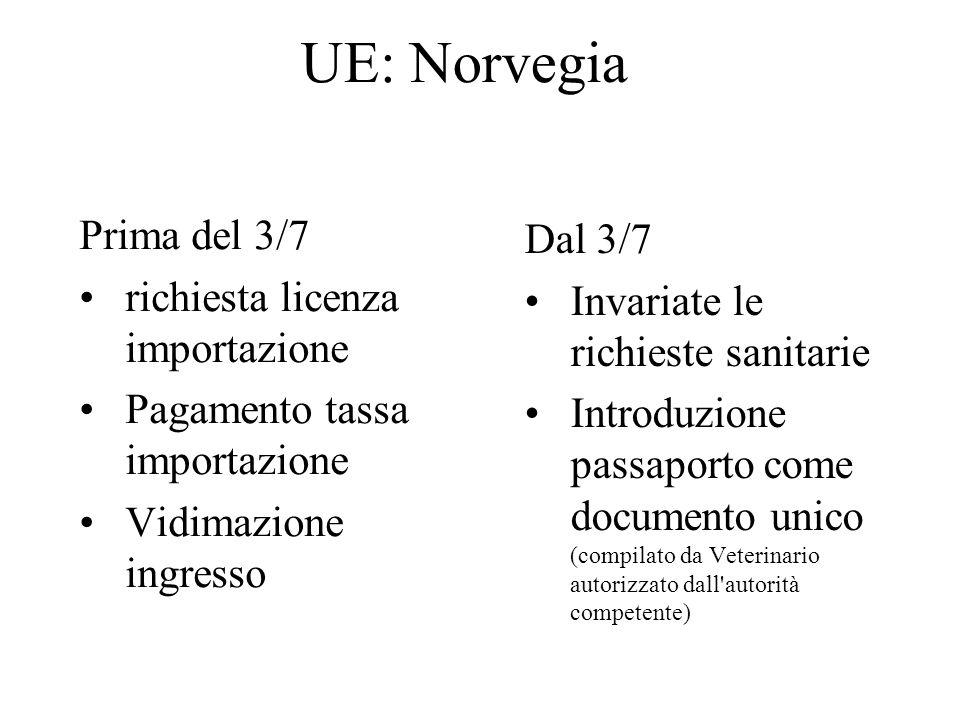 UE: Norvegia Prima del 3/7 Dal 3/7 richiesta licenza importazione