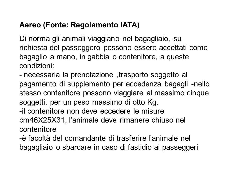 Aereo (Fonte: Regolamento IATA)