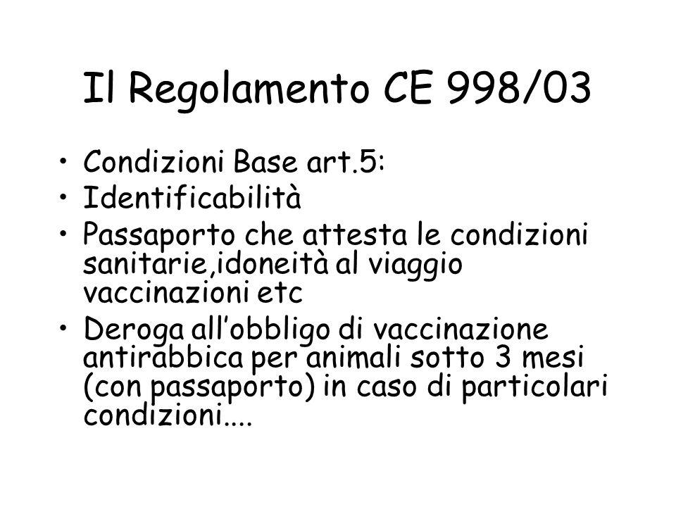 Il Regolamento CE 998/03 Condizioni Base art.5: Identificabilità