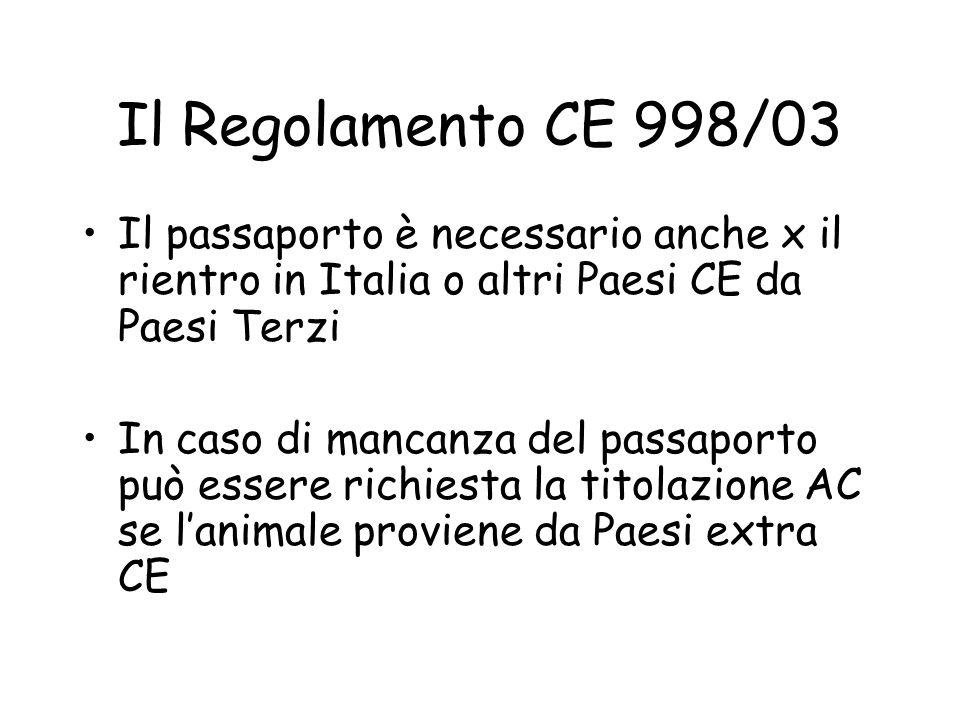 Il Regolamento CE 998/03 Il passaporto è necessario anche x il rientro in Italia o altri Paesi CE da Paesi Terzi.