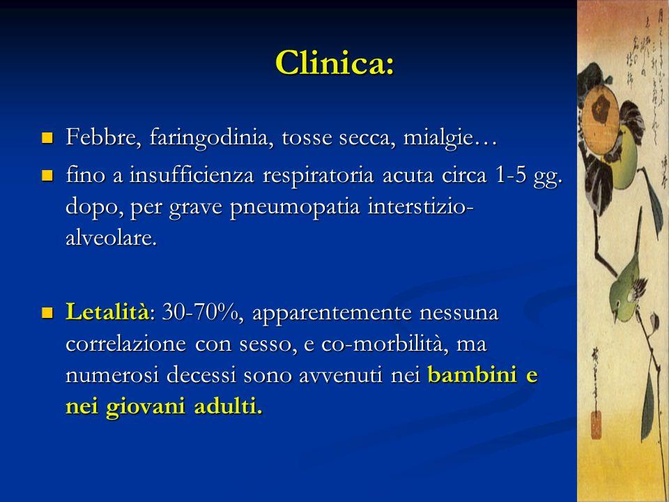 Clinica: Febbre, faringodinia, tosse secca, mialgie…