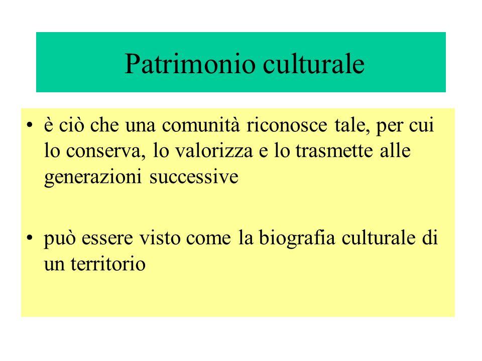 Patrimonio culturale è ciò che una comunità riconosce tale, per cui lo conserva, lo valorizza e lo trasmette alle generazioni successive.