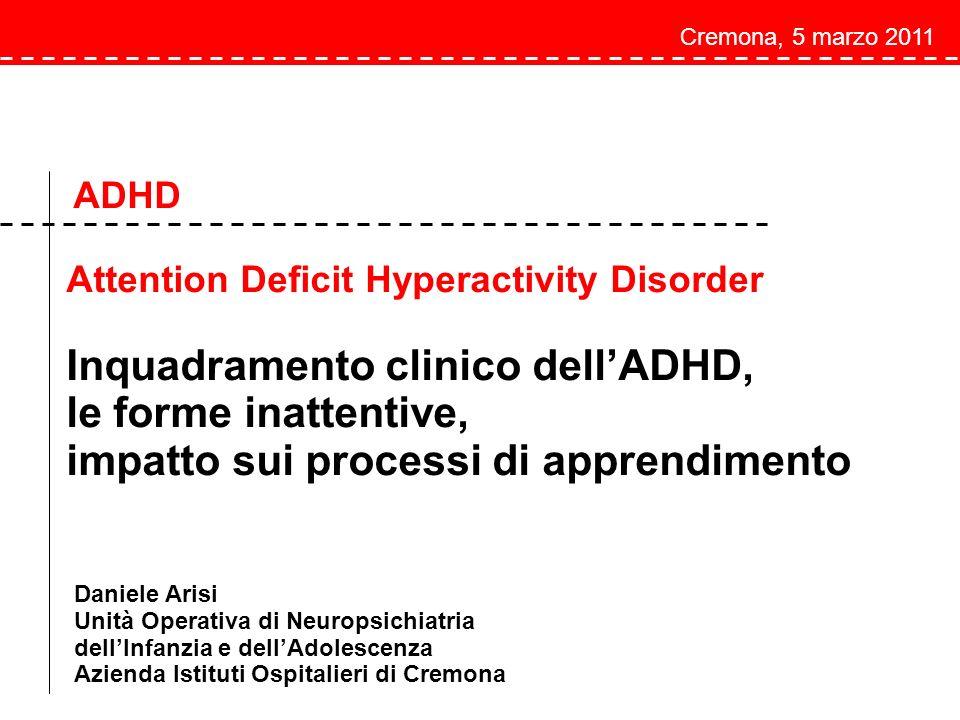 Inquadramento clinico dell'ADHD, le forme inattentive,