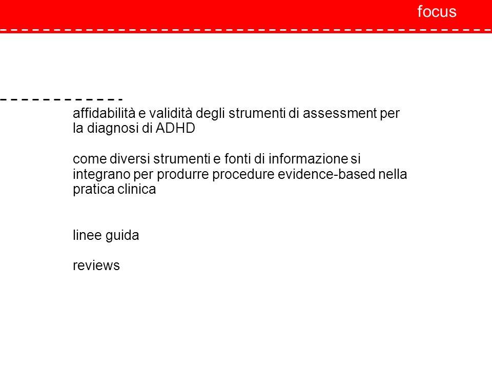 focus affidabilità e validità degli strumenti di assessment per la diagnosi di ADHD.