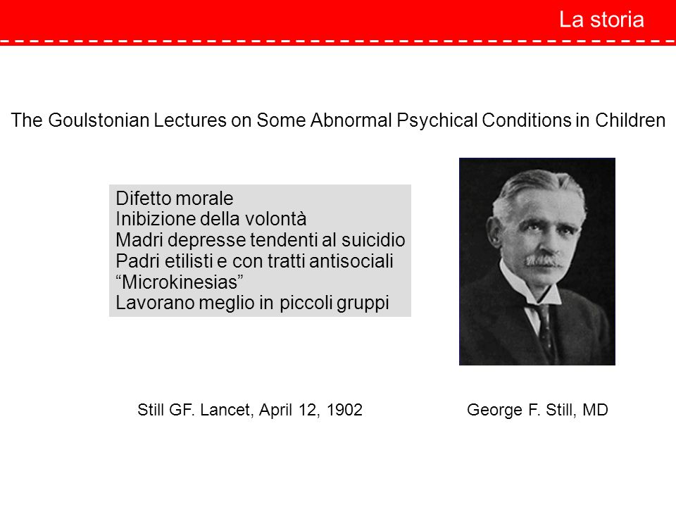 La storiaThe Goulstonian Lectures on Some Abnormal Psychical Conditions in Children. Difetto morale.
