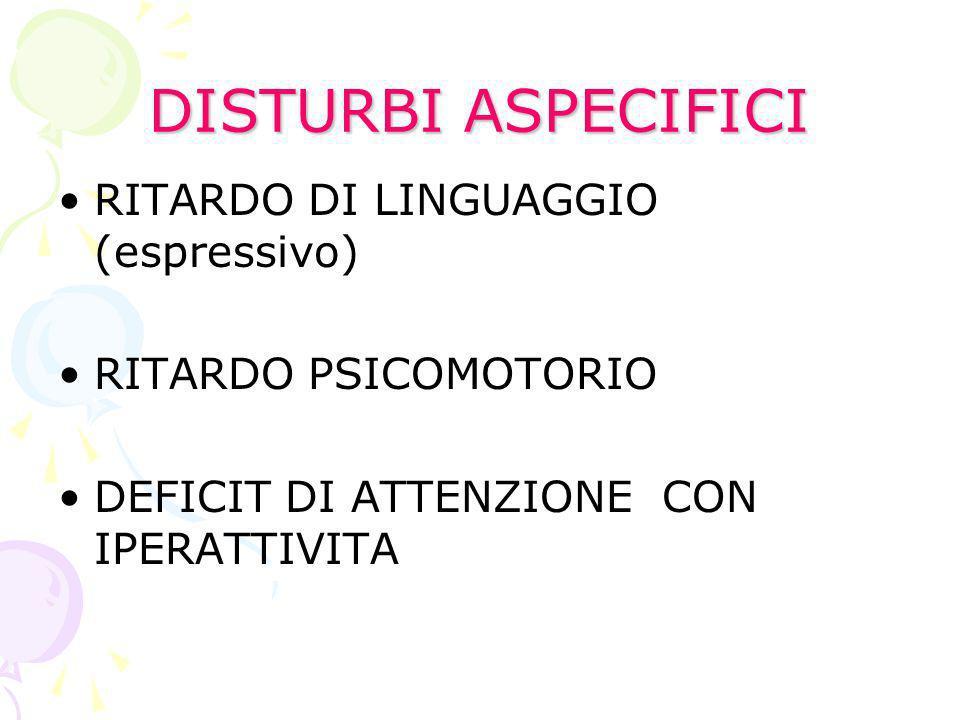 DISTURBI ASPECIFICI RITARDO DI LINGUAGGIO (espressivo)