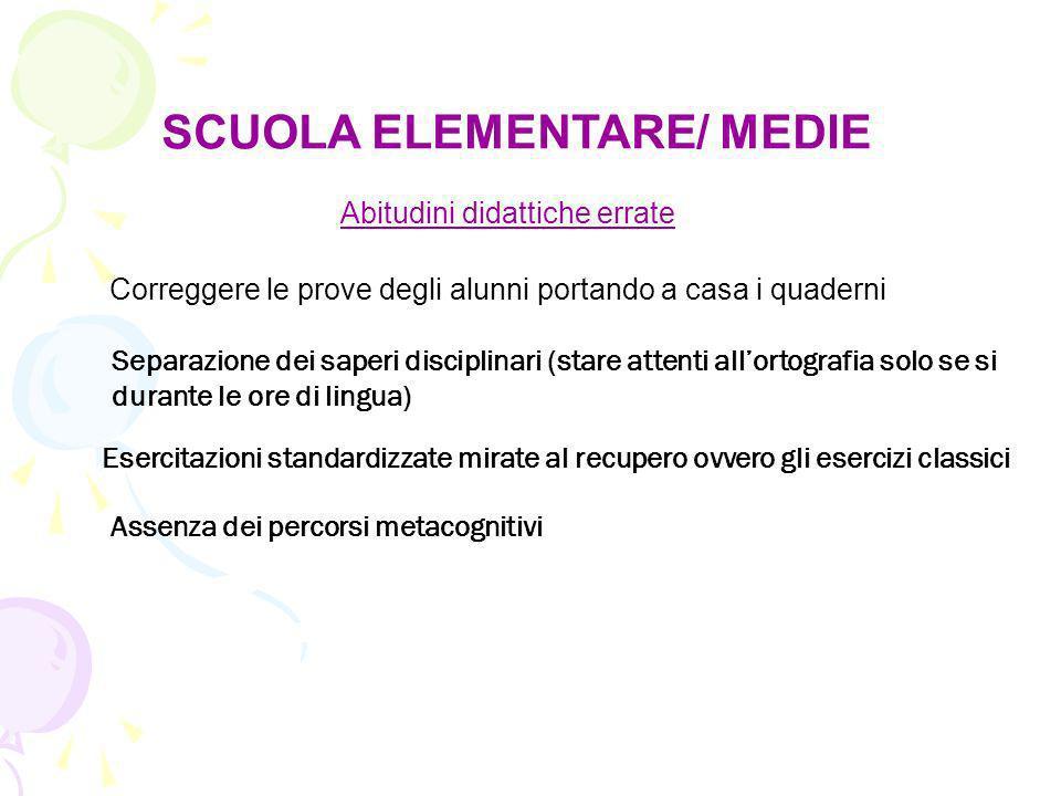 SCUOLA ELEMENTARE/ MEDIE