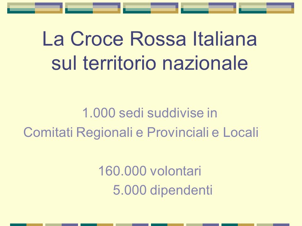 La Croce Rossa Italiana sul territorio nazionale