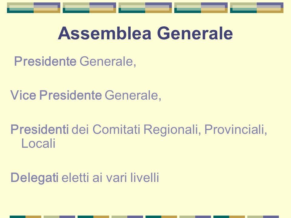 Assemblea Generale Presidente Generale, Vice Presidente Generale,