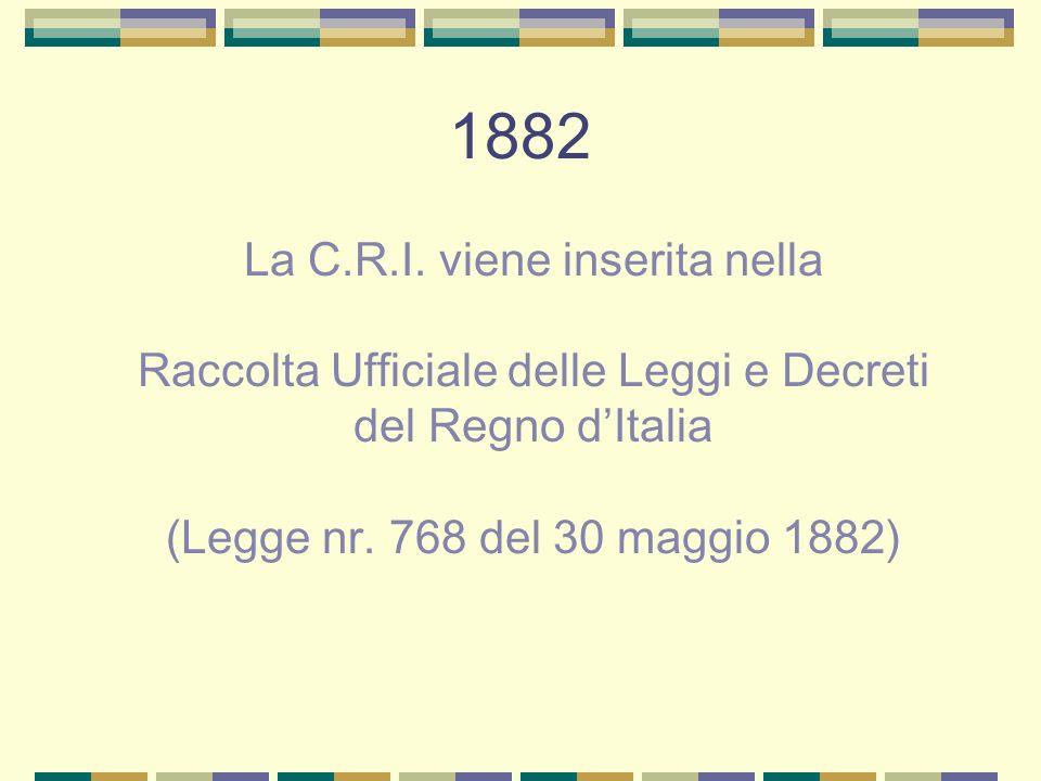 1882 La C.R.I. viene inserita nella