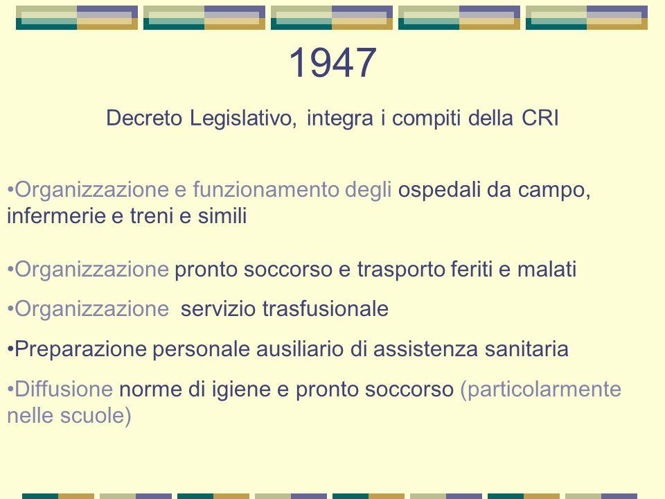 1947 Decreto Legislativo, integra i compiti della CRI