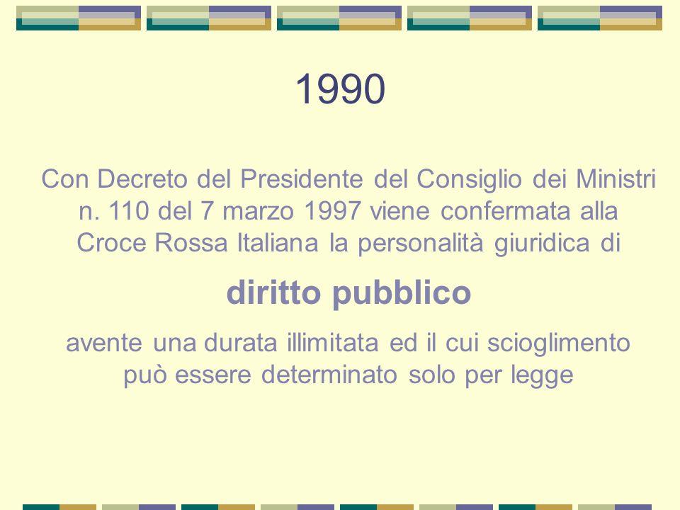 1990 Con Decreto del Presidente del Consiglio dei Ministri. n. 110 del 7 marzo 1997 viene confermata alla.