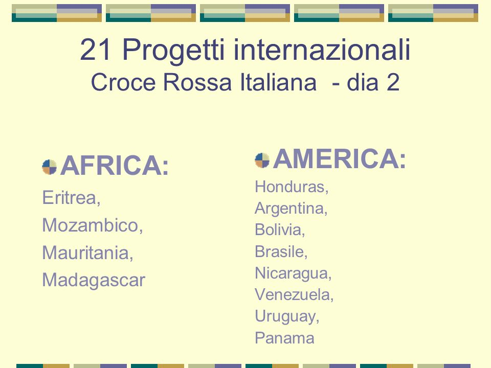 21 Progetti internazionali Croce Rossa Italiana - dia 2