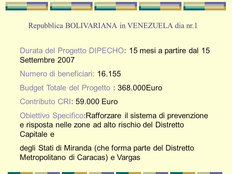Repubblica BOLIVARIANA in VENEZUELA dia nr.1