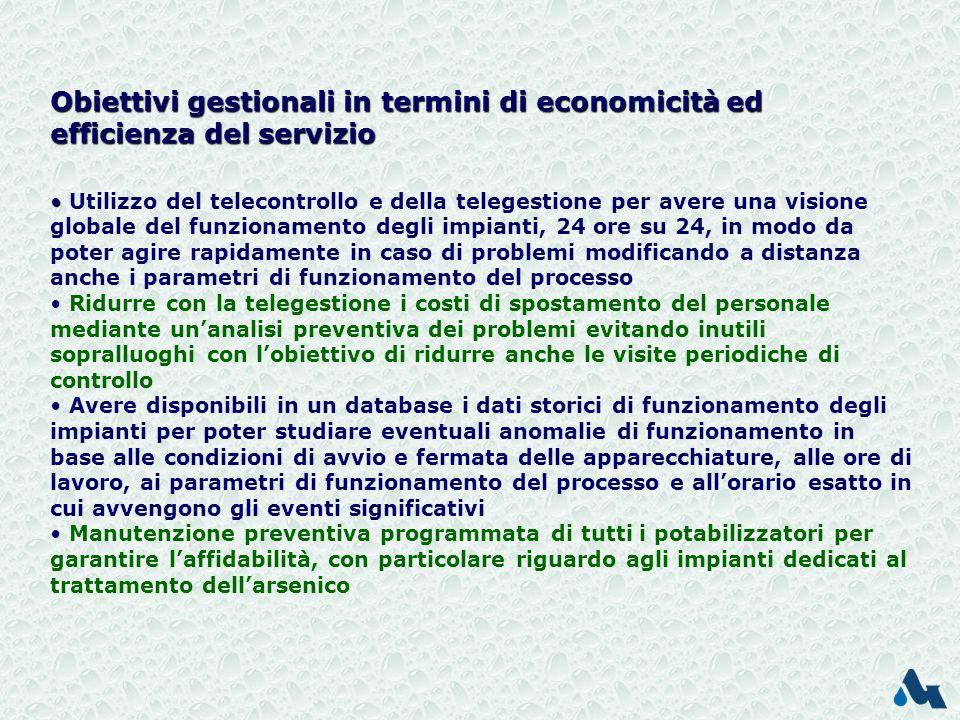 Obiettivi gestionali in termini di economicità ed efficienza del servizio
