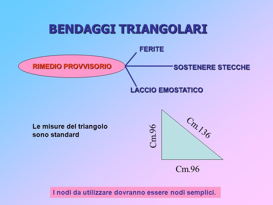BENDAGGI TRIANGOLARI Cm.136 Cm.96 Cm.96 FERITE RIMEDIO PROVVISORIO