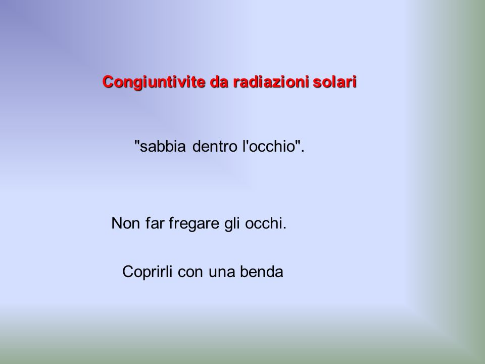 Congiuntivite da radiazioni solari