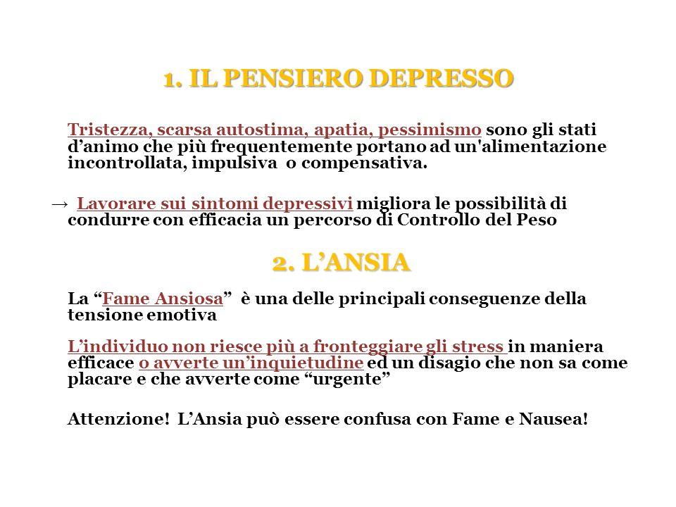 1. IL PENSIERO DEPRESSO 2. L'ANSIA