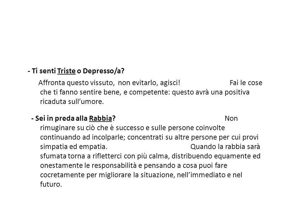- Ti senti Triste o Depresso/a