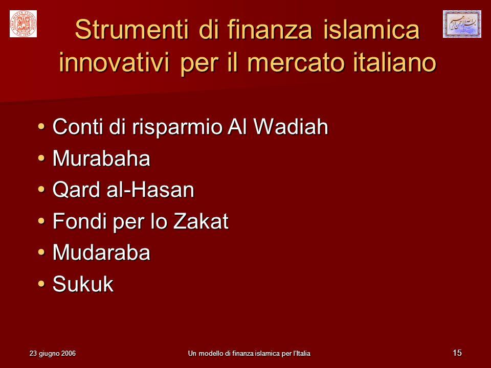 Strumenti di finanza islamica innovativi per il mercato italiano