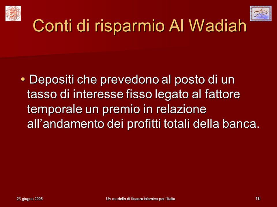 Conti di risparmio Al Wadiah
