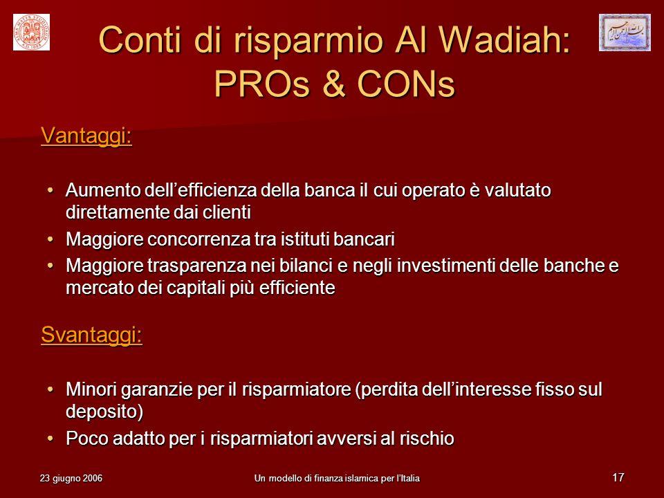 Conti di risparmio Al Wadiah: PROs & CONs