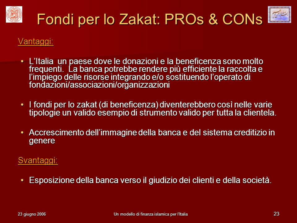 Fondi per lo Zakat: PROs & CONs