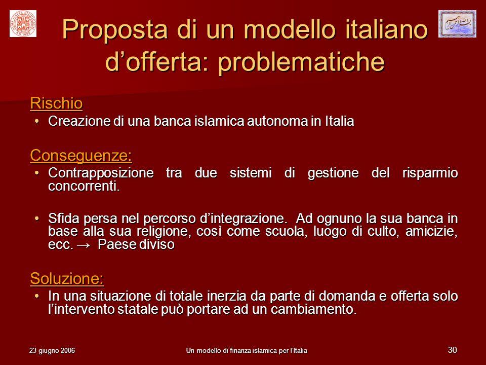 Proposta di un modello italiano d'offerta: problematiche